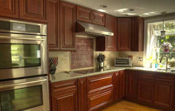 Cherry Color Cabinets with Giallo Fantasia granite.