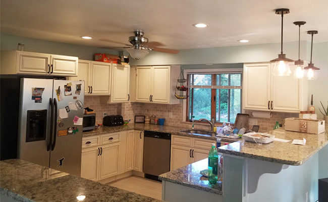 and countertop light granite open transitional proper dark lighting kitchen cabinets offset projects countertops