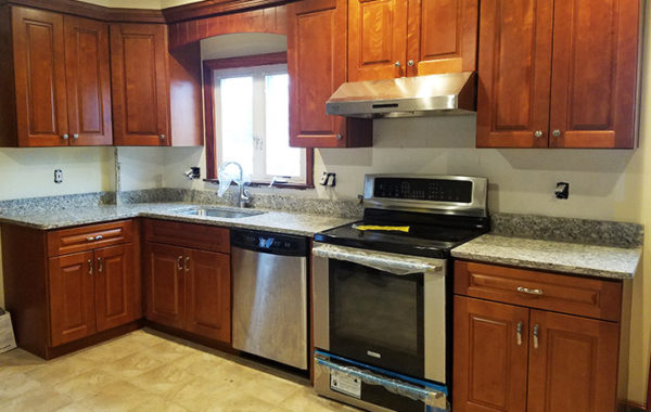 Kitchen, Bath and Exteriors Gallery - Stone & Cabinets on Light Maple Cabinets With White Countertops  id=52939
