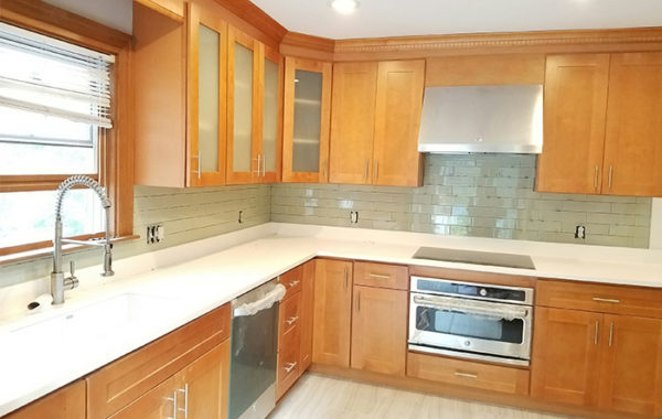 Kitchen, Bath and Exteriors Gallery - Stone & Cabinets on Light Maple Cabinets With White Countertops  id=23207